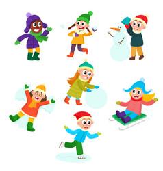 Set of kids children doing winter activities vector