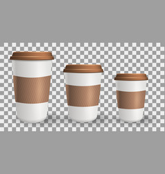 set of realistic to go and takeaway paper coffee vector image