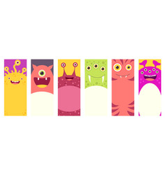 set of vertical banners with cute monsters vector image