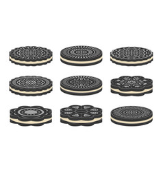 set oreo cookie icons vector image
