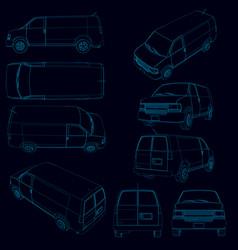 set with contours of the van contour of the van vector image