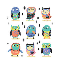 Set with nine cartoon owls vector