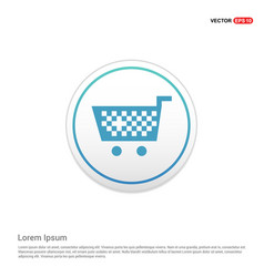 Shopping cart icon - white circle button vector