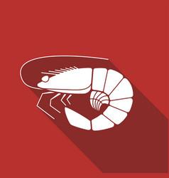 Shrimp flat icon vector