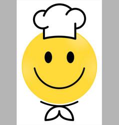 smiley face yellow chef happy smiley emoji vector image