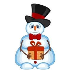 Snowman carrying a gift and wearing a hat and a bo vector