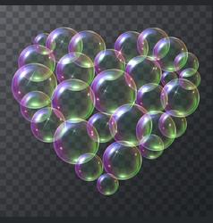 Soap bubbles in shape a heart vector