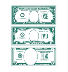 Three simplified stylized bills with no faces vector