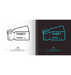 Ticket icon on background vector