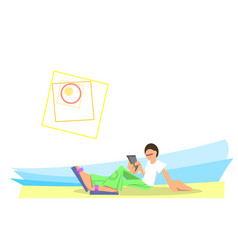 Trendy young man sitting with phone on beach vector