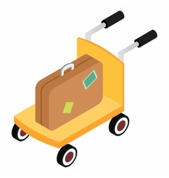 Trolley with brown suitcases vector image