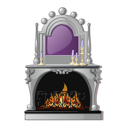 vintage fireplace and a purple candle in a vector image