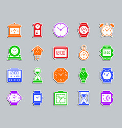 Watch patch sticker icons set vector