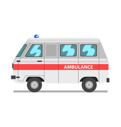 white and red ambulance car emergency medical van vector image