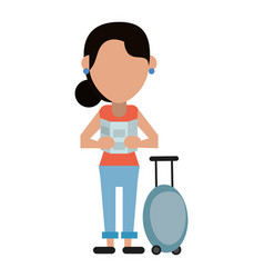 Woman looking map baggage travel vector