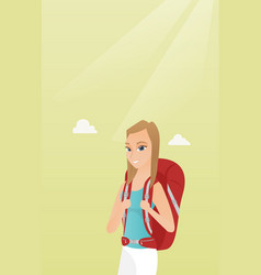 Young caucasian traveler woman with a backpack vector