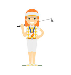 Young woman golfer with golf club vector