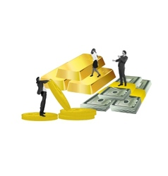 business people gold money and coins vector image vector image