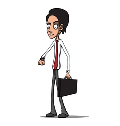 Businessman with briefcase late for a meeting vector image vector image