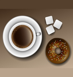 Coffee and donut from above vector image