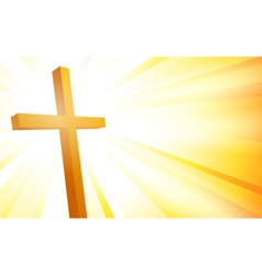 Cross on sunburst background vector image