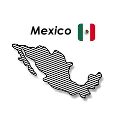 mexico poster with monochrome map striped and vector image