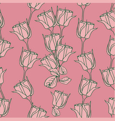 seamless pattern with pink roses on pink vector image