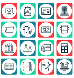 set of 16 school icons includes certificate vector image vector image