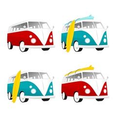 Vintage camper bus van with surfboards vector image vector image