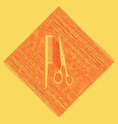 barber shop sign red scribble icon vector image
