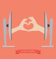 Couple hands making up heart shape from two vector image