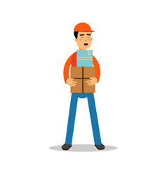 delivery man standing and holding boxes courier vector image vector image