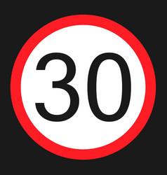 maximum speed limit 30 sign flat icon vector image
