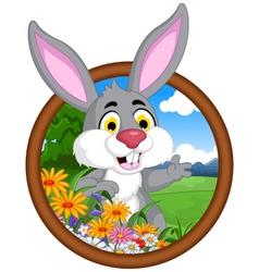 Rabbit cartoon in frame vector