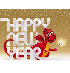 red christmas dragon with a sparkler vector image vector image
