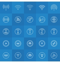 Set of thin line wi-fi icons vector image vector image