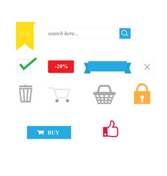 Shopping icons with isolated and website symbols vector