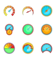 Speedometer or gauge icons set cartoon style vector image