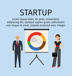 startup infographic with business people vector image