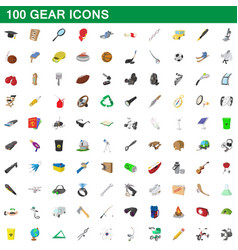 100 gear icons set cartoon style vector image vector image