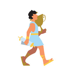 ancient greek with vase and scroll vector image