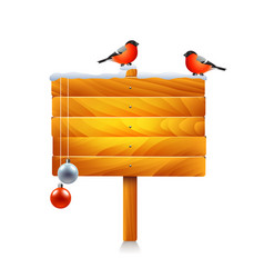 christmas wooden sign with bullfinches isolated vector image vector image