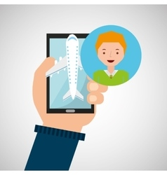 guy blond hand holds mobile application travel vector image vector image