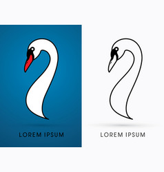 head swan side view graphic vector image vector image