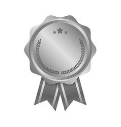 Modern silver circle metal badge label and design vector