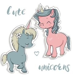 pink and blue cartoon unicorns vector image vector image