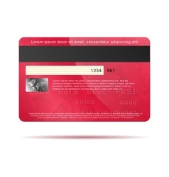 Red credit card back icon realistic style vector image vector image