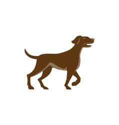 English Pointer Dog Pointing Up Retro vector image