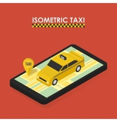 Isometric concept of mobile app for booking taxi vector image