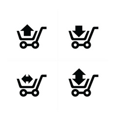 shopping cart icons and arrow vector image vector image
